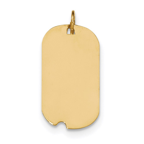 0.027 Gauge Engravable Dog Tag with Notch Disc Charm 14k Gold Plain XM560/27