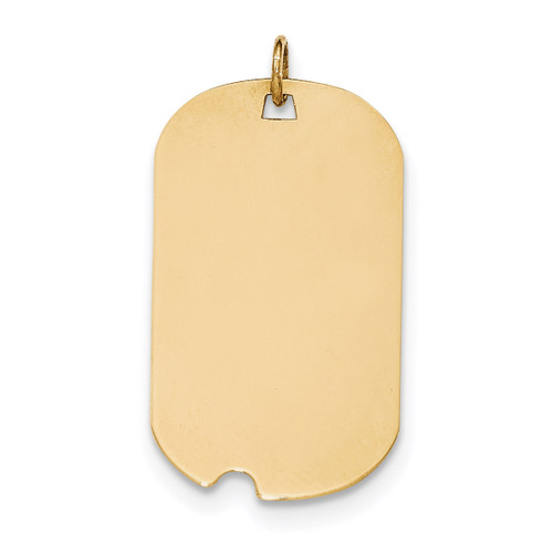 0.018 Gauge Engravable Dog Tag with Notch Disc Charm 14k Gold Plain XM563/18