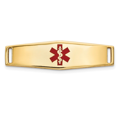 Epoxy Enameled Medical ID Ctr Soft Diamond Shape Plate # 816 14k Gold XM639