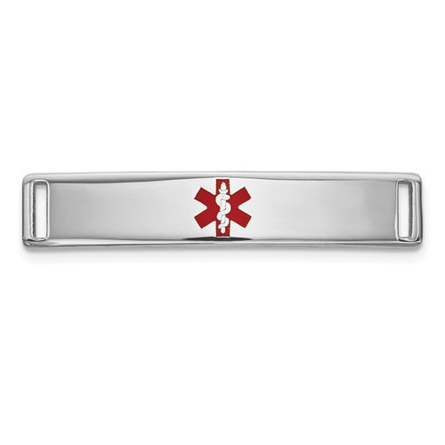 Epoxy Enameled Medical ID Ctr Plate # 816 14k white Gold XM640W