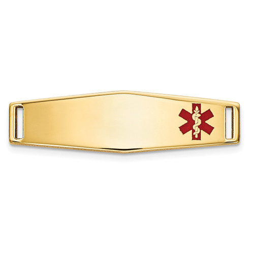 Epoxy Enameled Medical ID Off Ctr Soft Diamond Shape Plate # 816 14k Gold XM641