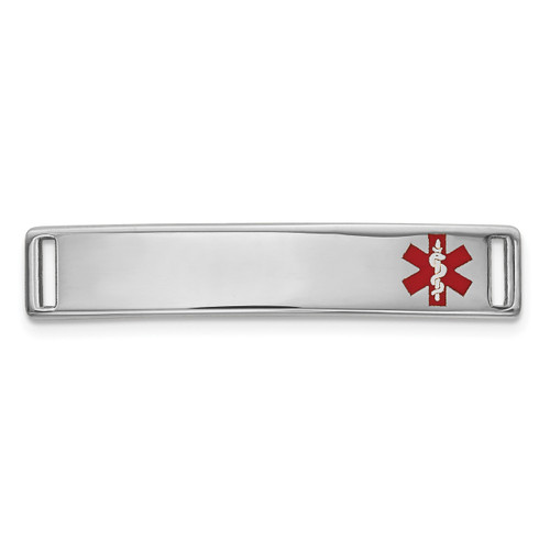 Epoxy Enameled Medical ID Off Ctr Plate # 816 14k white Gold XM642W
