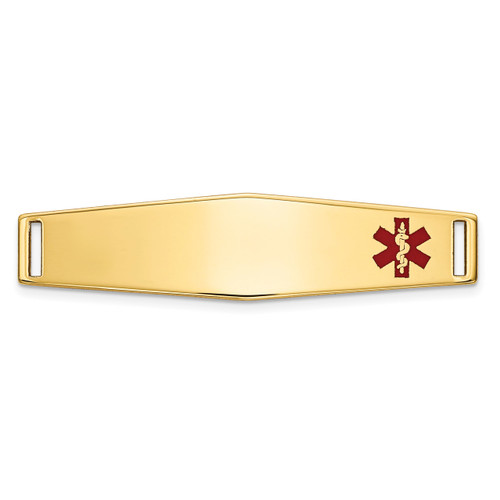 Epoxy Enameled Medical ID Off Ctr Soft Diamond Shape Plate # 817 14k Gold XM645