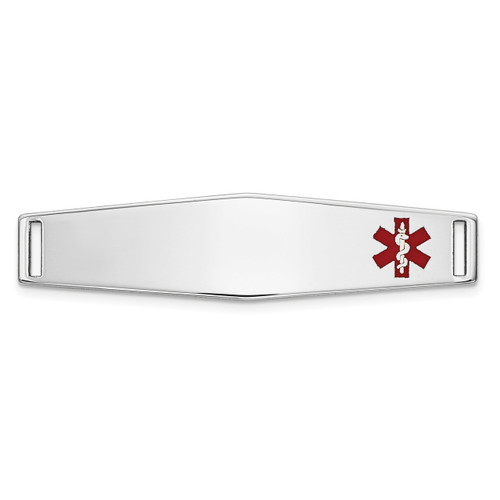 Epoxy Enameled Medical ID Off Ctr Soft Diamond Shape Plate # 817 14k white Gold XM645W