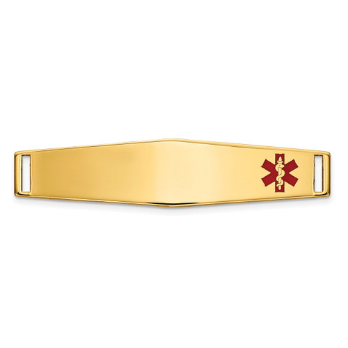 Epoxy Enameled Medical ID Off Ctr Soft Diamond Shape Plate # 818 14k Gold XM649