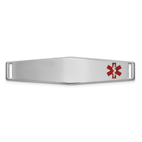 Epoxy Enameled Medical ID Off Ctr Soft Diamond Shape Plate # 818 14k white Gold XM649W