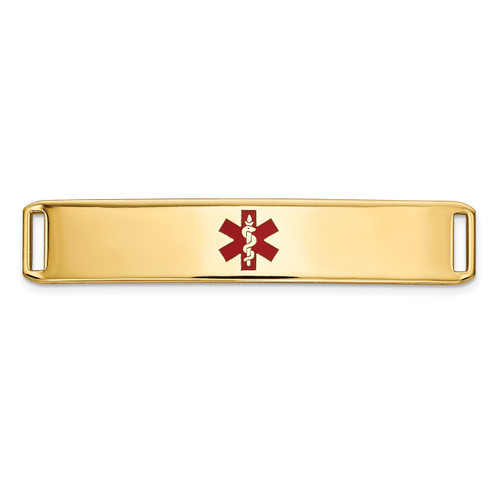 Epoxy Enameled Medical ID Ctr Plate # 819 14k Gold XM652