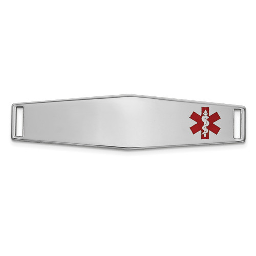 Epoxy Enameled Medical ID Off Ctr Soft Diamond Shape Plate # 819 14k white Gold XM653W