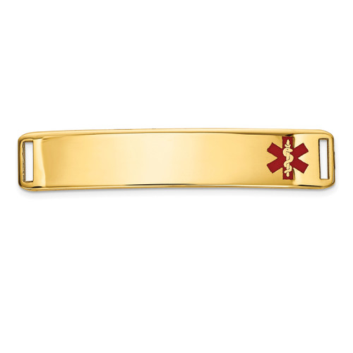 Epoxy Enameled Medical ID Off Ctr Plate # 819 14k Gold XM654
