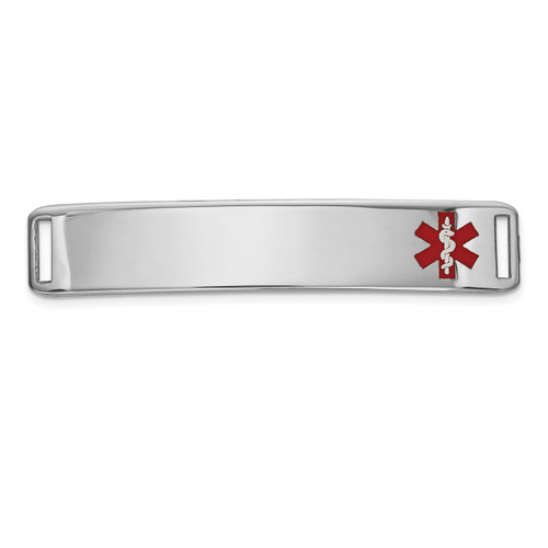 Epoxy Enameled Medical ID Off Ctr Plate # 819 14k white Gold XM654W
