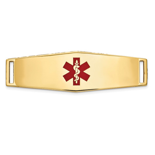 Epoxy Enameled Medical ID Ctr Soft Diamond Shape Plate # 820 14k Gold XM655