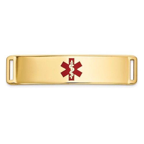 Epoxy Enameled Medical ID Ctr Plate # 820 14k Gold XM656