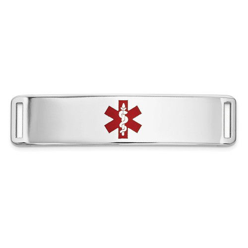 Epoxy Enameled Medical ID Ctr Plate # 820 14k white Gold XM656W
