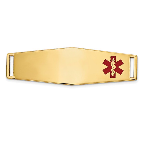 Epoxy Enameled Medical ID Off Ctr Soft Diamond Shape Plate # 820 14k Gold XM657