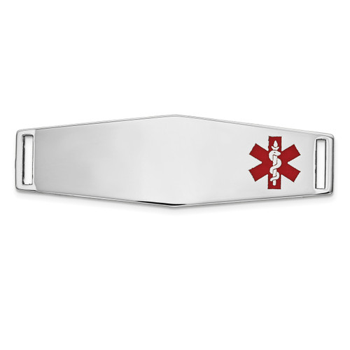 Epoxy Enameled Medical ID Off Ctr Soft Diamond Shape Plate # 820 14k white Gold XM657W