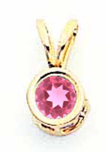 4mm Pink Tourmaline Bezel Pendant 14k Gold XP300PT
