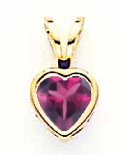 5mm Heart Rhodolite Garnet Bezel Pendant 14k Gold XP311RG