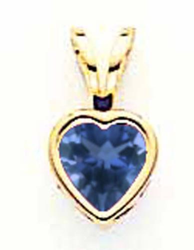 5mm Heart Sapphire Bezel Pendant 14k Gold XP311S