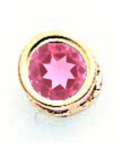 5mm Pink Tourmaline Bezel Pendant 14k Gold XP320PT