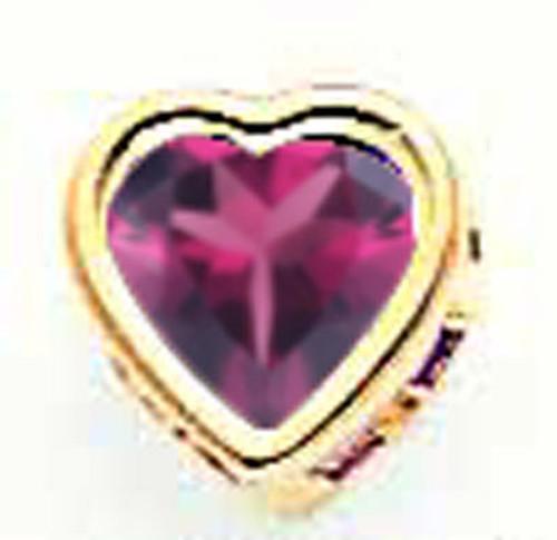 5mm Heart Rhodolite Garnet Bezel Pendant 14k Gold XP326RG