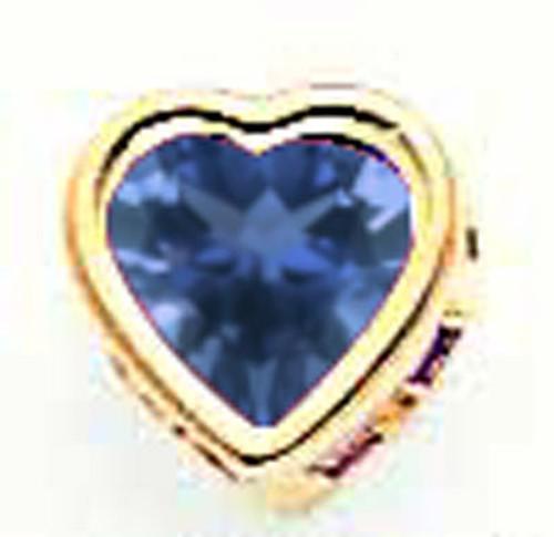 5mm Heart Sapphire Bezel Pendant 14k Gold XP326S