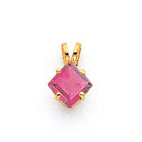 5mm Princess Cut Rhodolite Garnet pendant 14k Gold XP431RG