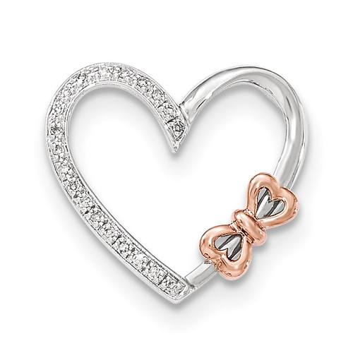 14K Two-toned Diamond Polished Heart with bow Pendant 14k Two-Tone Gold XP4631AA