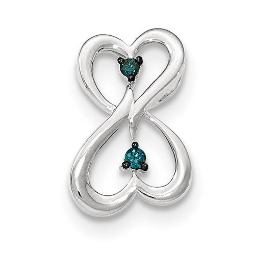 Blue Diamond Double Heart Chain Slide 14k white Gold XP4926AA