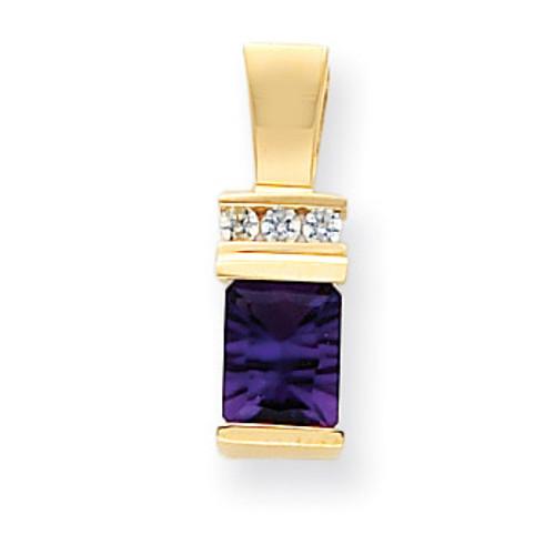 Amethyst Diamond slide 14k Gold 8x6mm Emerald Cut XS799AM/A