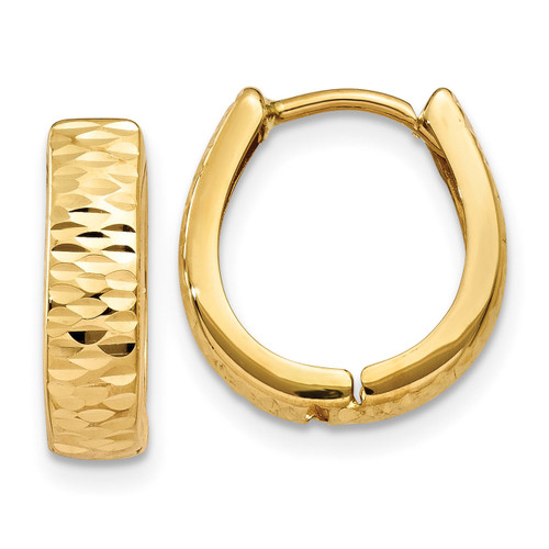 Hinged Hoop Earrings 14K Gold Textured and Polished MPN: YE1678 UPC: 868044146887