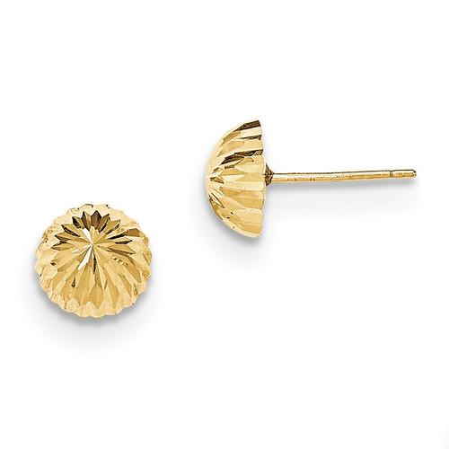 Diamond -cut 8mm Domed Post Earrings 14k Gold MPN: YE1696 UPC: 716838210879