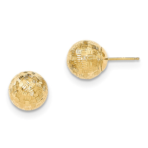 Round 10mm Groove Diamond Cut Ball Post Earrings 14k Gold MPN: YE1705 UPC: 191101358852