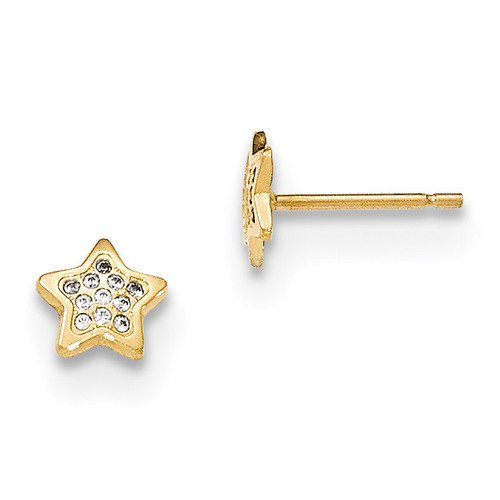 CZ Star Post Earrings 14k Gold Polished MPN: YE1747 UPC: 191101454264