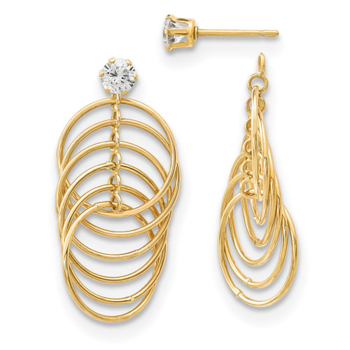 CZ Studs with Multi Tube Hoops Earring Jackets 14k Gold MPN: YE1793