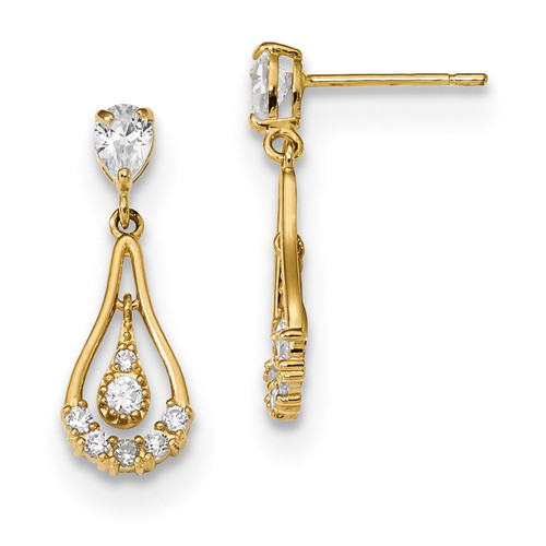 CZ Teardrop Dangle Post Earrings 14k Gold Polished MPN: YE1795