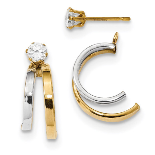 Double Hoop Earring Jackets with CZ Studs 14k Two-Tone Gold MPN: YE1819