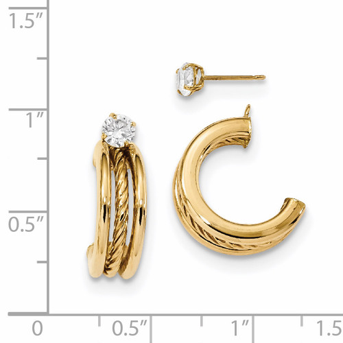 Triple Hoops with Rope Earring Jackets with CZ Studs 14k Gold Polished YE1820