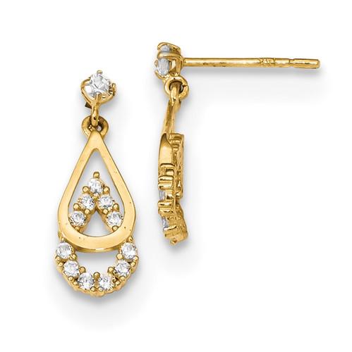 CZ Double Teardrop Dangle Post Earrings 14k Gold Polished MPN: YE1821