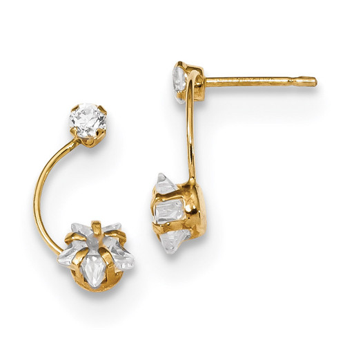 CZ Shoot Star Post Earrings 14k Gold Polished MPN: YE1824