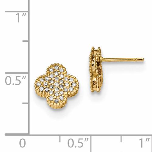 Diamond Quatrefoil Post Earrings 14k Gold YE1828