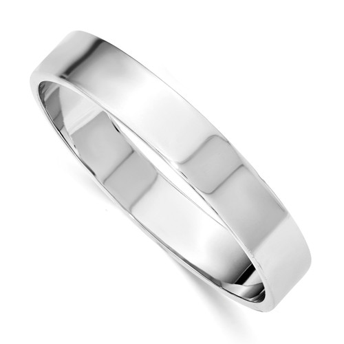 12.50mm Rhodium-plated Polished Slip-on Bangle Sterling Silver QB902
