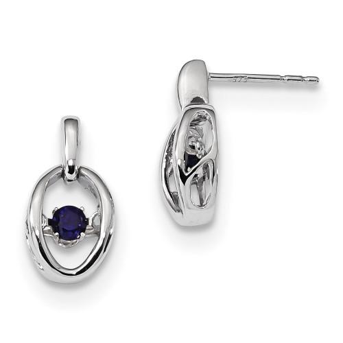 Created Blue Sapphire Birthstone Vibrant Earrings Sterling Silver Rhodium MPN: QBE32SEP