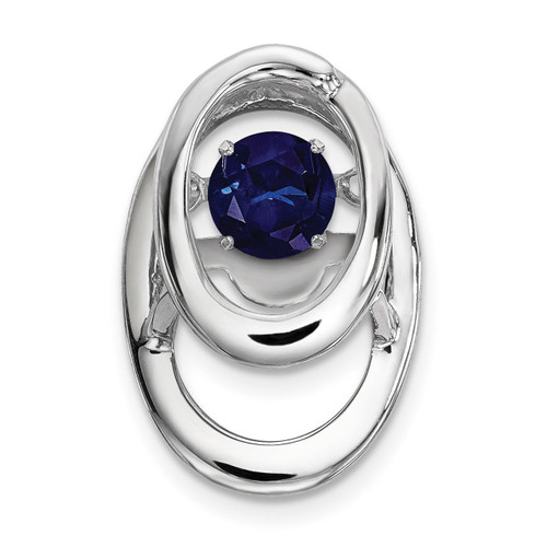 Created Blue Sapphire Birthstone Vibrant Pendant Sterling Silver Rhodium MPN: QBPD32SEP