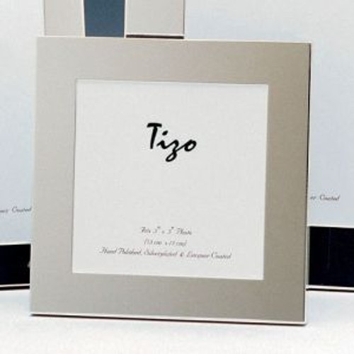 Tizo Thick Simple 5 x 5 Inch Square Silver Plated Picture Frame
