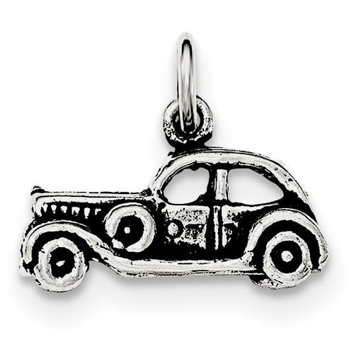 3-D Old Fashioned Car Pendant Sterling Silver Antiqued QC8629