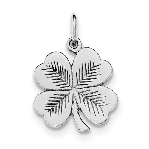 4 Leaf Clover Pendant Sterling Silver Rhodium-plated Polished QC8652