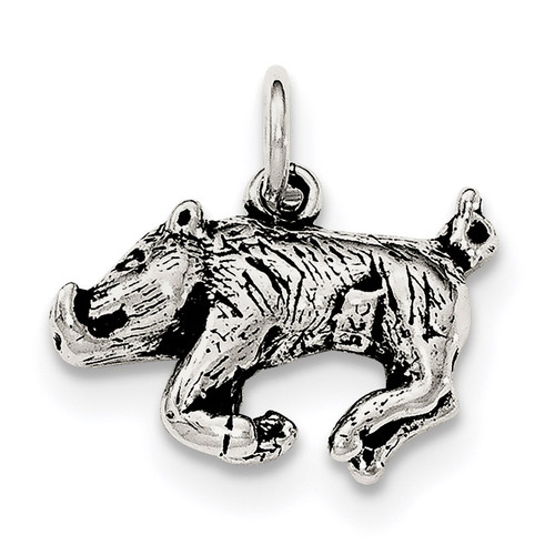 3-D Wild Boar Pendant Sterling Silver Antiqued QC8896