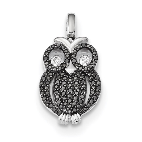0.2ct. Black & White Diamond Reversible Owl Pendant Sterling Silver Rhodium QDX1254