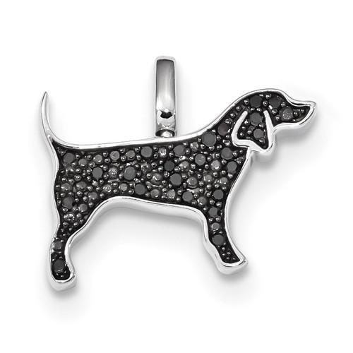 0.25ct. Black & White Diamond Reversible Dog Pendant Sterling Silver Rhodium QDX1257