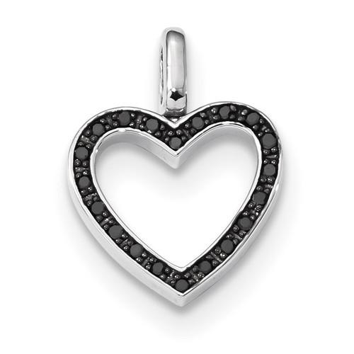 0.2ct. Black & White Diamond Reversible Heart Pendant Sterling Silver Rhodium QDX1259